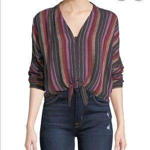 Rails Sloan stripe tie front top blouse Sz M